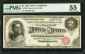 Large Size:Silver Certificates, Fr. 240 $2 1886 Silver Certificate PMG About Uncirculated 55.. ...