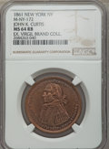 Civil War Merchants, 1861 MS John K. Curtis Token, New York, NY, M-NY-172, Baker-529A,Fuld-NY-630Sa-1a, Musante GW-436, MS64 Red and Brown NGC....