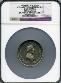 Undated (1867?) MS Cyrus Field Medal by Lovett-- Rim Damage -- NGC Details. Unc Details. White metal. 51 mm. Field laid...