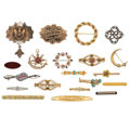 Estate Jewelry:Brooches - Pins, Diamond, Multi-Stone, Seed Pearl, Enamel, Gold, Silver Brooches .... (Total: 20 Items)