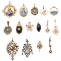 Estate Jewelry:Pendants and Lockets, Diamond, Multi-Stone, Enamel, Gold, Silver-Topped Gold, YellowMetal Pendants. ... (Total: 15 Items)