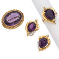 Estate Jewelry:Lots, Amethyst, Diamond, Gold Jewelry . ... (Total: 3 Items)