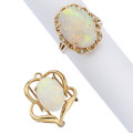 Estate Jewelry:Lots, Opal, Diamond, Gold Jewelry . ... (Total: 2 Items)