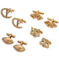 Estate Jewelry:Cufflinks, Multi-Stone, Enamel, Gold Cuff Links . ... (Total: 4 Items)