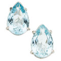Estate Jewelry:Earrings, Aquamarine, White Gold Earrings . ...