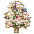 Estate Jewelry:Brooches - Pins, Cultured Pearl, Diamond, Multi-Stone, Gold Brooch . ...