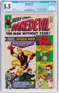 Silver Age (1956-1969):Superhero, Daredevil #1 (Marvel, 1964) CGC FN- 5.5 Cream to off-whitepages....