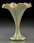 Art Glass:Other , Quezal Feather-Pulled Glass Floriform Vase. Circa 1910. Etched andenameled Quezal, R, 425. Ht. 6-1/2 in.. ...