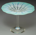 Art Glass:Tiffany , Tiffany Studios Green Pastille Glass Compote. Circa 1910. EngravedL.C.T. - Favrile, 1903. Ht. 5-7/8 in.. ...