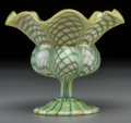 Art Glass:Other , Quezal Feather-Pulled Iridescent Glass Floriform Vase. Circa 1910.Etched and enameled Quezal, S, 795. Ht. 4-3/4 in.. ...