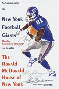 """Football Collectibles:Others, LeRoy Neiman and Amani Toomer Dual-Signed Poster. Used to promote a 2004 event called """"An Evening with the New York Footbal..."""