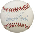 Autographs:Baseballs, Johnny Bench Single Signed Baseball. The Hall of Fame backstop forthe exceptional Big Red Machine teams of 1970s Cincinnat...