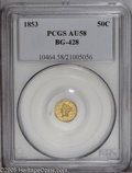 California Fractional Gold: , 1853 50C Liberty Round 50 Cents, BG-428, R.3, AU58 PCGS. PCGSPopulation (55/137). (#10464)...