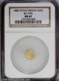 California Fractional Gold: , 1880 25C Indian Octagonal 25 Cents, BG-799J, R.3, MS62 NGC. PCGSPopulation: (13/104). (#10636)...