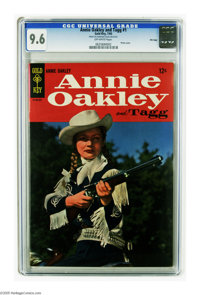 Annie Oakley and Tagg #1 File Copy (Dell, 1965) CGC NM+ 9.6 Off-white pages. Photo cover. Tied with two other copies for...