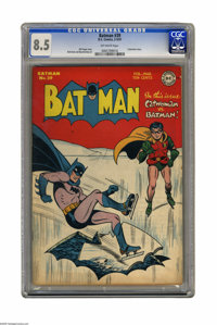 Batman #39 (DC, 1947) CGC VF+ 8.5 Off-white pages. What set Catwoman apart from other super-villainesses was the undenia...