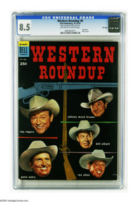 Dell Giant Comics Western Roundup #8 File Copy (Dell, 1954) CGC VF+ 8.5 Off-white to white pages. Photo cover featuring...