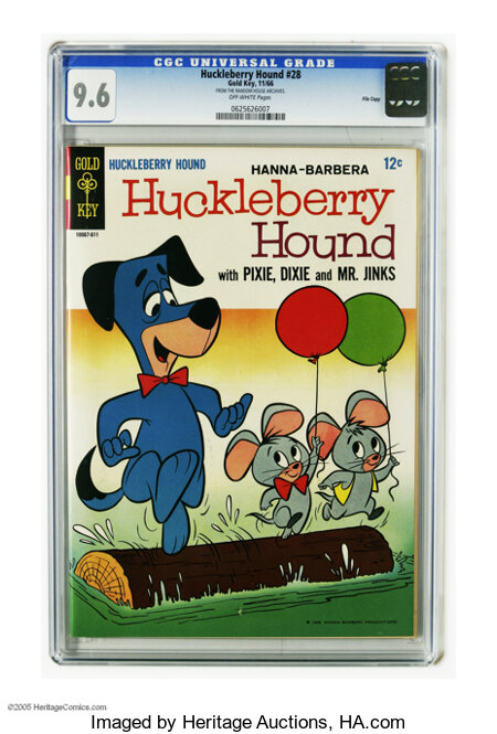 Huckleberry Hound #28 File Copy (Gold Key, 1966) CGC NM+ 9.6 Off-white pages. Highest grade yet assigned by CGC for this iss...
