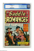 Golden Age (1938-1955):Western, Saddle Romances #10 (EC, 1950) CGC VF- 7.5 Off-white pages. Features art by Graham Ingels, Al Feldstein, and Wally Wood (his...