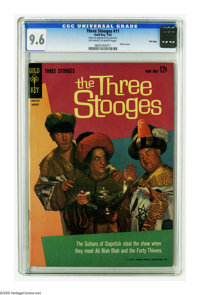 Three Stooges #11 File Copy (Gold Key, 1963) CGC NM+ 9.6 Off-white to white pages. Photo cover featuring the sultans of...
