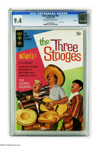 Three Stooges #42 File Copy (Gold Key, 1969) CGC NM 9.4 Off-white to white pages. Photo cover. Only a knuckle head would...