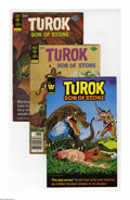 Bronze Age (1970-1979):Superhero, Turok Group (Gold Key, 1973-82) Condition: Average VF. This full short box lot of Turoks includes #85 (23 copies), 87 (2...