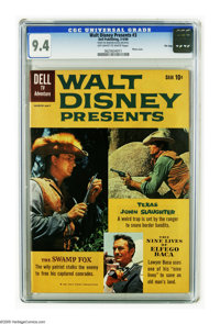 Walt Disney Presents #3 File Copy (Dell, 1960) CGC NM 9.4 Off-white pages. Photo cover. The Swamp Fox, Texas John Slaugh...