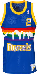 Basketball Collectibles:Uniforms, 1987-88 Alex English Game Worn Denver Nuggets Jersey and Shorts....