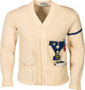 Basketball Collectibles:Uniforms, Early 1950's Yale Letterman's Sweater with Captain's Stripe. ...
