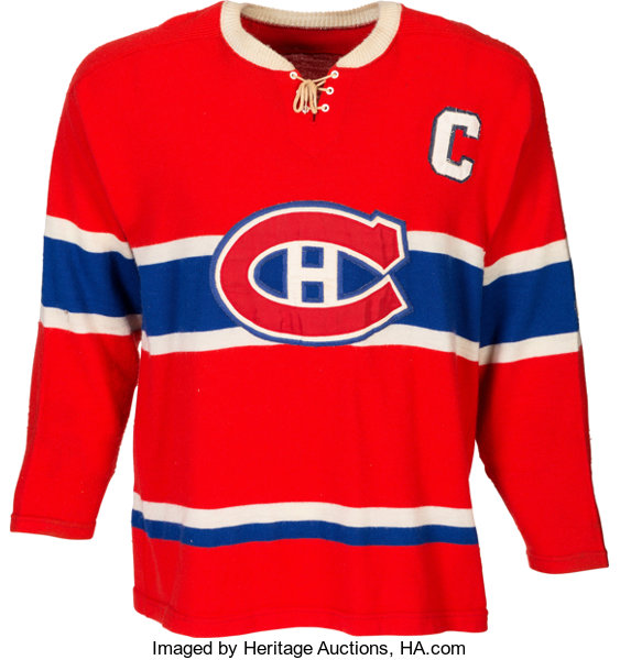 best website aff3e 0a1a8 1960's Jean Beliveau Signed Game Worn Montreal Canadiens ...
