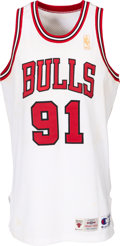 Basketball Collectibles:Uniforms, 1996-97 Dennis Rodman Game Worn Chicago Bulls Jersey - With Chelios LOA....