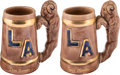 Football Collectibles:Others, 1940's Dan Reeves and Tony Morabito Los Angeles Rams Steins (2)....