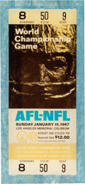 Autographs:Bats, 1967 Super Bowl I Full Ticket (In Lucite) - Gold Variation....
