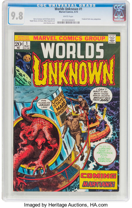 Worlds Unknown #1 (Marvel, 1973) CGC NM/MT 9.8 White pages....