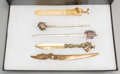 Silver Smalls:Other , Five Silver, Silver-Plated, Celluloid, and Brass Paper Knives, late19th century and later. Marks: (various). 11-1/4 inches ... (Total:5 Items)