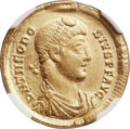Ancients:Roman Imperial, Ancients: Theodosius I the Great (AD 379-395). AV solidus (21mm,4.48 gm, 12h). NGC Choice XF 5/5 - 4/5....