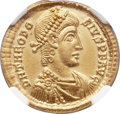 Ancients:Roman Imperial, Ancients: Theodosius I the Great (AD 379-395). AV solidus (21mm,4.47 gm, 12h). NGC MS 5/5 - 5/5....