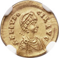 Ancients:Roman Imperial, Ancients: Aelia Eudocia, wife of Theodosius II (Augusta, AD423-450). AV tremissis (15mm, 1.39 gm, 6h). NGC MS 5/5 - 3/5,clipped....
