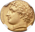 Ancients:Greek, Ancients: SICILY. Syracuse. Agathocles (317-289 BC). AV hemistateror decadrachm (16mm, 4.27 gm, 7h). NGC A...