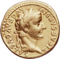 Ancients:Roman Imperial, Ancients: Tiberius (AD 14-37). AV aureus (19mm, 7.61 gm, 5h). NGC VF 4/5 - 4/5....