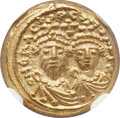 Ancients:Byzantine, Ancients: Heraclius, with Heraclius Constantine. 610-641. AV Solidus (11mm, 4.47 gm, 6h). NGC Gem MS 4/5 - 5/5....