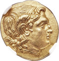 Ancients:Greek, Ancients: THRACIAN KINGDOM. Lysimachus (305-281 BC). AV stater(19mm, 8.45 gm, 11h). NGC MS 5/5 - 4/5....