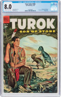 Golden Age (1938-1955):Miscellaneous, Four Color #596 Turok (#1) (Dell, 1954) CGC VF 8.0 Off-white to white pages....