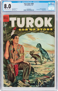 Four Color #596 Turok (#1) (Dell, 1954) CGC VF 8.0 Off-white to white pages