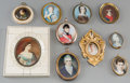 Decorative Arts, British:Other , Ten Continental Portrait Miniatures, early 19th century and later.5-5/8 inches high x 4-5/8 inches wide (14.3 x 11.7 cm) (l...(Total: 10 Items)