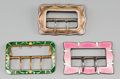 Estate Jewelry:Other , A Tiffany & Co. Sterling Silver Belt Buckle, English PinkEnamel and Sterling Silver Buckle, and Green Enamel Brass Buckle,... (Total: 3 Items)