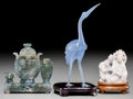 Asian:Chinese, Three Chinese Carved Lavender Jade, Hardstone, and Glass Figures.6-7/8 inches high (17.5 cm) (tallest, crane on stand). ...
