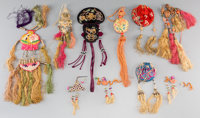 Eight Chinese Embroidered Silk Purses and Toggles, late Qing Dynasty-early Republic Period 14-1/2 inches long (36