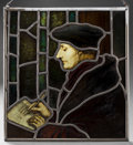 Decorative Arts, Continental:Other , A Stained Glass Panel Depicting Erasmus of Rotterdam, afterHans Holbein the Younger, late 19th-early 20th centu...