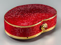 Estate Jewelry:Purses, A Judith Leiber Full Bead Red Crystal Heart Minaudiere Evening Bag.Marks to bag: Judith Leiber, (copyright), NEW YORK...